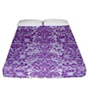 DAMASK2 WHITE MARBLE & PURPLE DENIM (R) Fitted Sheet (California King Size) View1