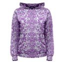 DAMASK2 WHITE MARBLE & PURPLE DENIM (R) Women s Pullover Hoodie View1