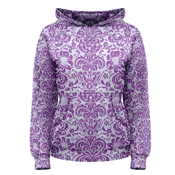 DAMASK2 WHITE MARBLE & PURPLE DENIM (R) Women s Pullover Hoodie
