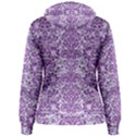 DAMASK2 WHITE MARBLE & PURPLE DENIM (R) Women s Pullover Hoodie View2
