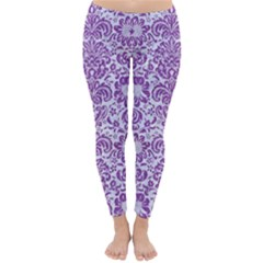 Damask2 White Marble & Purple Denim (r) Classic Winter Leggings