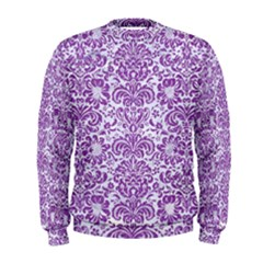 Damask2 White Marble & Purple Denim (r) Men s Sweatshirt
