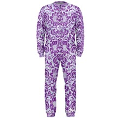Damask2 White Marble & Purple Denim (r) Onepiece Jumpsuit (men)