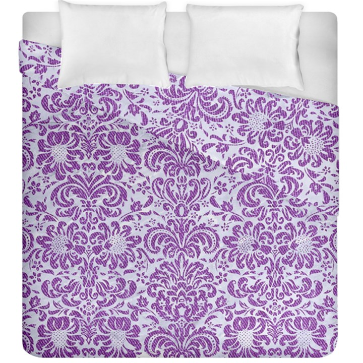 DAMASK2 WHITE MARBLE & PURPLE DENIM (R) Duvet Cover Double Side (King Size)