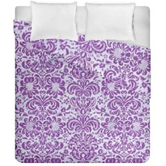 Damask2 White Marble & Purple Denim (r) Duvet Cover Double Side (california King Size) by trendistuff