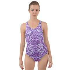 Damask2 White Marble & Purple Denim (r) Cut Out Back One Piece Swimsuit