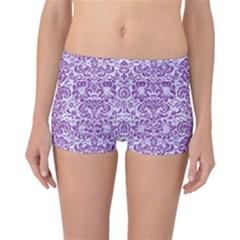 Damask2 White Marble & Purple Denim (r) Reversible Boyleg Bikini Bottoms
