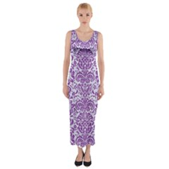 Damask2 White Marble & Purple Denim (r) Fitted Maxi Dress