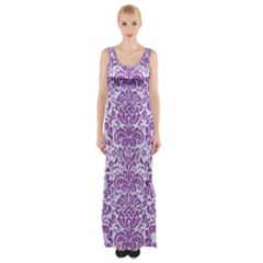 Damask2 White Marble & Purple Denim (r) Maxi Thigh Split Dress