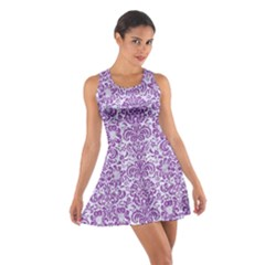 Damask2 White Marble & Purple Denim (r) Cotton Racerback Dress