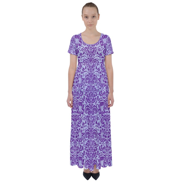 DAMASK2 WHITE MARBLE & PURPLE DENIM (R) High Waist Short Sleeve Maxi Dress