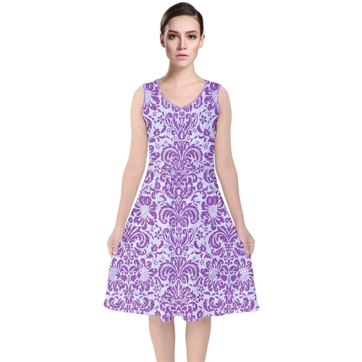 DAMASK2 WHITE MARBLE & PURPLE DENIM (R) V-Neck Midi Sleeveless Dress