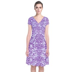 Damask2 White Marble & Purple Denim (r) Short Sleeve Front Wrap Dress