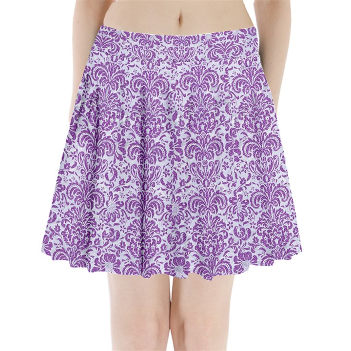 DAMASK2 WHITE MARBLE & PURPLE DENIM (R) Pleated Mini Skirt