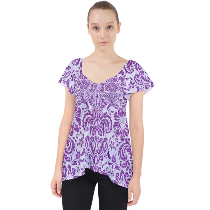 DAMASK2 WHITE MARBLE & PURPLE DENIM (R) Lace Front Dolly Top