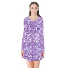 Damask2 White Marble & Purple Denim (r) Flare Dress