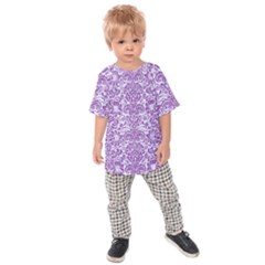Damask2 White Marble & Purple Denim (r) Kids Raglan Tee