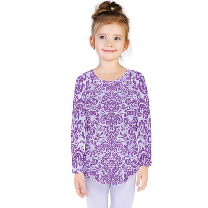DAMASK2 WHITE MARBLE & PURPLE DENIM (R) Kids  Long Sleeve Tee