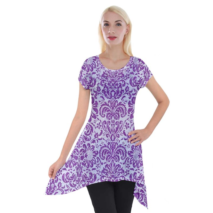 DAMASK2 WHITE MARBLE & PURPLE DENIM (R) Short Sleeve Side Drop Tunic