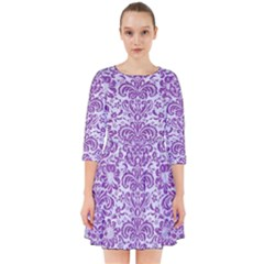 Damask2 White Marble & Purple Denim (r) Smock Dress