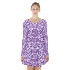 Damask2 White Marble & Purple Denim (r) Long Sleeve Velvet V Neck Dress