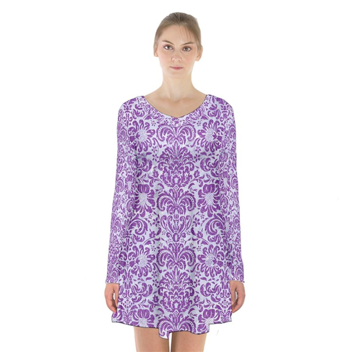 DAMASK2 WHITE MARBLE & PURPLE DENIM (R) Long Sleeve Velvet V-neck Dress