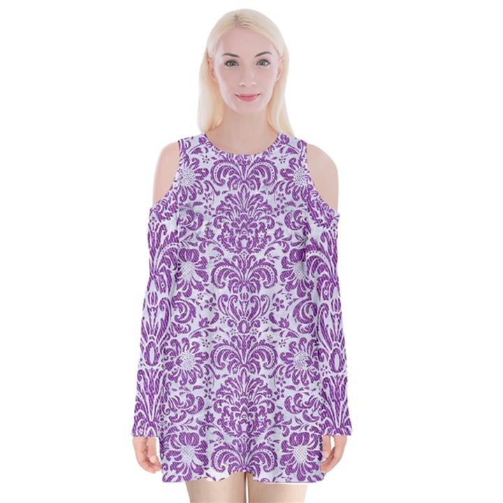 DAMASK2 WHITE MARBLE & PURPLE DENIM (R) Velvet Long Sleeve Shoulder Cutout Dress
