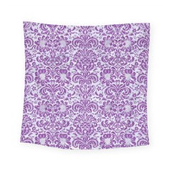 Damask2 White Marble & Purple Denim (r) Square Tapestry (small)