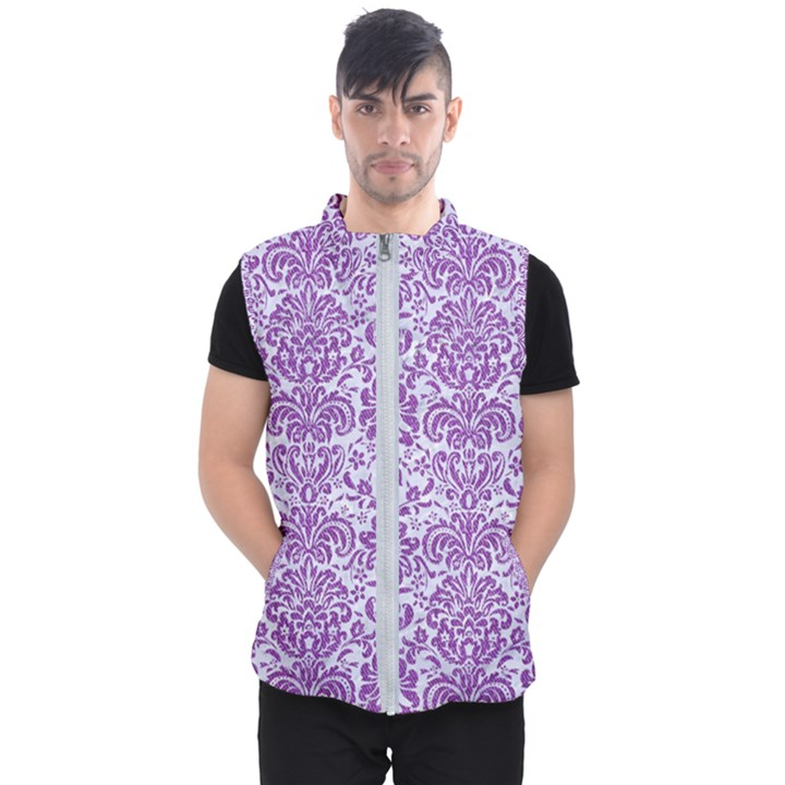 DAMASK2 WHITE MARBLE & PURPLE DENIM (R) Men s Puffer Vest