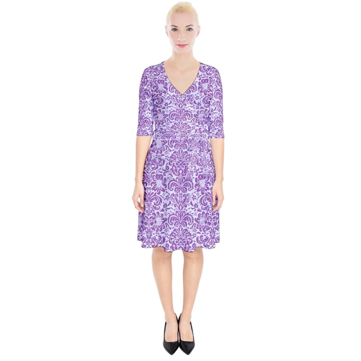 DAMASK2 WHITE MARBLE & PURPLE DENIM (R) Wrap Up Cocktail Dress