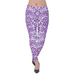 Damask2 White Marble & Purple Denim (r) Velvet Leggings