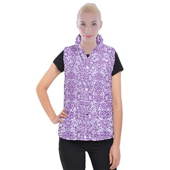 Damask2 White Marble & Purple Denim (r) Women s Button Up Vest