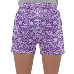 DAMASK2 WHITE MARBLE & PURPLE DENIM (R) Sleepwear Shorts