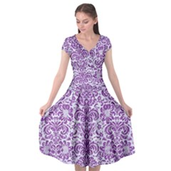Damask2 White Marble & Purple Denim (r) Cap Sleeve Wrap Front Dress