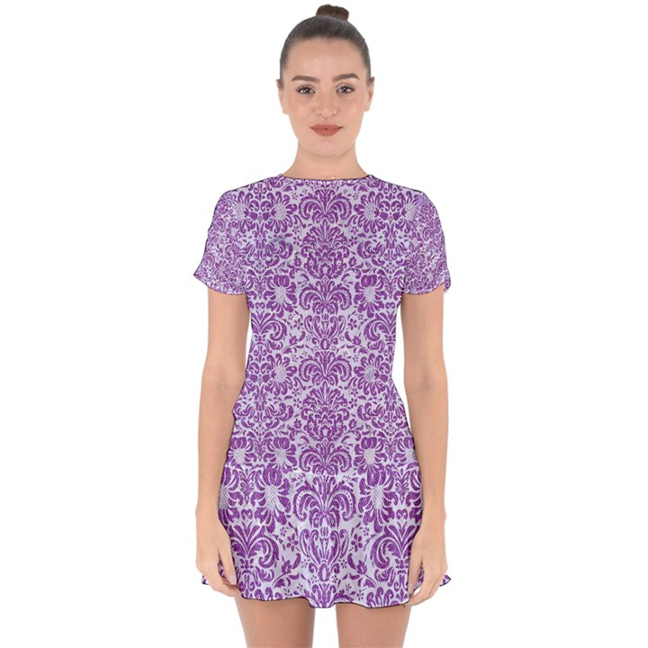 DAMASK2 WHITE MARBLE & PURPLE DENIM (R) Drop Hem Mini Chiffon Dress