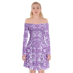 Damask2 White Marble & Purple Denim (r) Off Shoulder Skater Dress