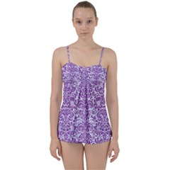Damask2 White Marble & Purple Denim (r) Babydoll Tankini Set