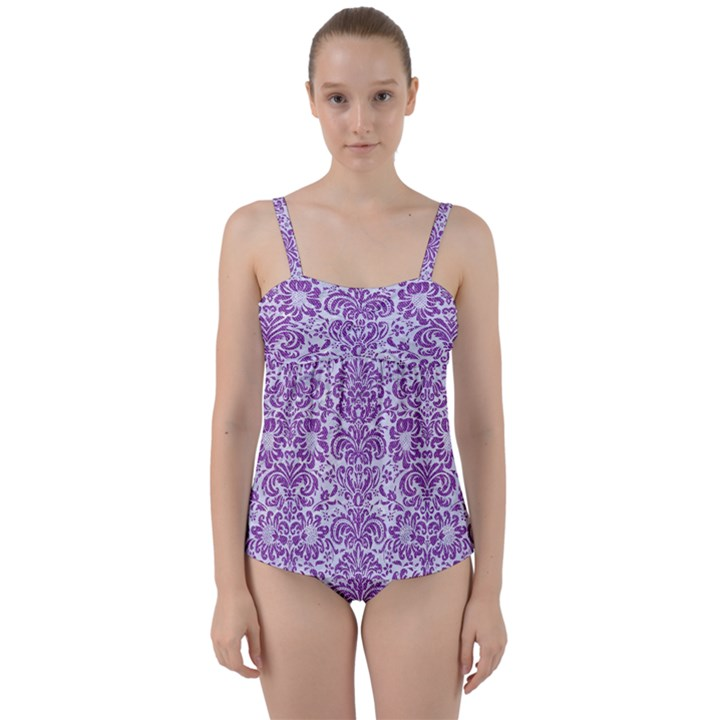 DAMASK2 WHITE MARBLE & PURPLE DENIM (R) Twist Front Tankini Set