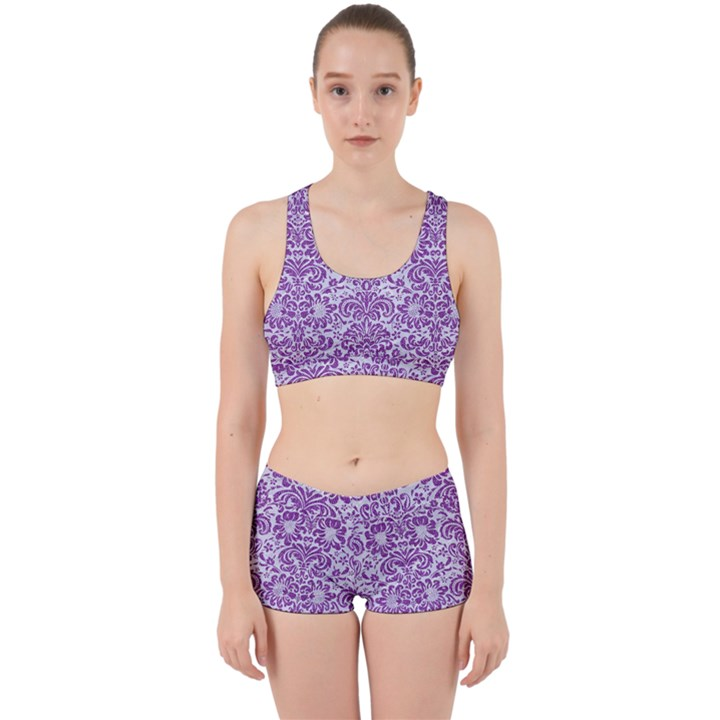 DAMASK2 WHITE MARBLE & PURPLE DENIM (R) Work It Out Gym Set