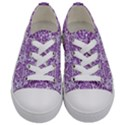 DAMASK2 WHITE MARBLE & PURPLE DENIM (R) Kids  Low Top Canvas Sneakers View1