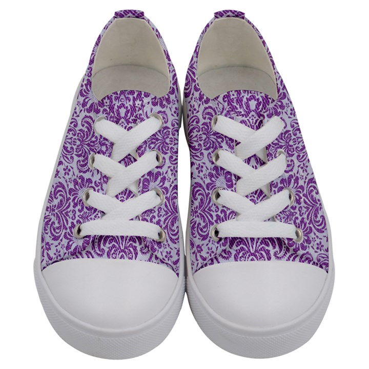 DAMASK2 WHITE MARBLE & PURPLE DENIM (R) Kids  Low Top Canvas Sneakers
