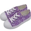 DAMASK2 WHITE MARBLE & PURPLE DENIM (R) Kids  Low Top Canvas Sneakers View2