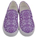 DAMASK2 WHITE MARBLE & PURPLE DENIM (R) Men s Canvas Slip Ons View1