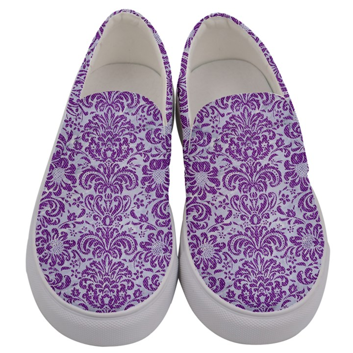 DAMASK2 WHITE MARBLE & PURPLE DENIM (R) Men s Canvas Slip Ons
