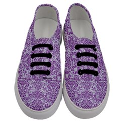 Damask2 White Marble & Purple Denim (r) Men s Classic Low Top Sneakers