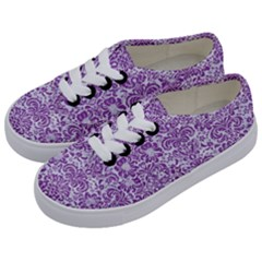 DAMASK2 WHITE MARBLE & PURPLE DENIM (R) Kids  Classic Low Top Sneakers