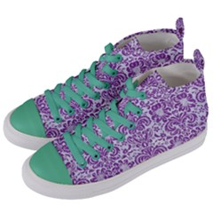 DAMASK2 WHITE MARBLE & PURPLE DENIM (R) Women s Mid-Top Canvas Sneakers