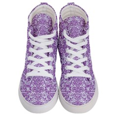 Damask2 White Marble & Purple Denim (r) Women s Hi Top Skate Sneakers