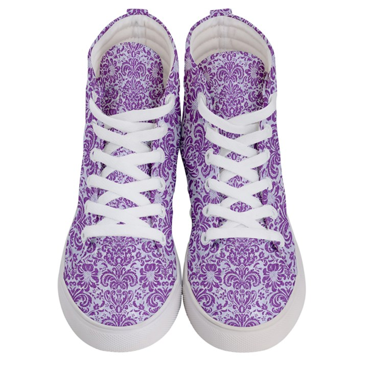 DAMASK2 WHITE MARBLE & PURPLE DENIM (R) Women s Hi-Top Skate Sneakers