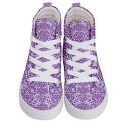 Damask2 White Marble & Purple Denim (r) Kid s Hi Top Skate Sneakers